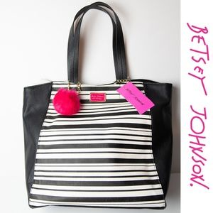 Betsey Johnson Stripe Shopper Tote + Wristlet NWT